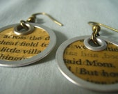 Book page earrings, small