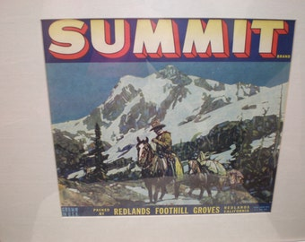 Summit Cowboy Orange Crate Label Advertising Fruit Crate Art Vintage California Framed Collectible