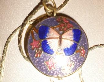 Butterfly Cloisonne Pendant- Cobalt Blue Winged On Purple Background Vintage Enameled Pendant On Chain- Vintage