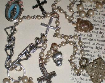 """Catacombs Skeleton Crucifix Macabre Rosary Gothic """"Creatures Of The Night"""" Vampire Hunter-Nosferatu Holy Relic Necklace Assemblage"""