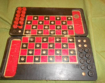 Checker Board Dated 1910 -Antique Wooden Folding Travel Board with Paper Lithographed Playing Surface