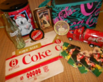 Coca-Cola Collection Vintage Advertising Items -Neat Tins, Coasters, Toys & Fun Items -Man Cave Decor