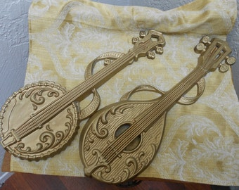 SOLD2 Suzanne Bouchard -Sexton Musical Instruments Banjo and Mandolin Regency Style Mid Cent Golden Cast Metal Wall Hangings-Vintage Pair