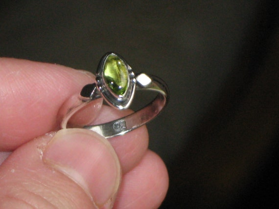 RESERVED for Becky Vintage Sterling Silver 925 Green Glass Resin Ring Size 6 Six