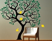 Vinyl Wall Decal - Tree with birds removable sticker. Original Mural Wall Decals