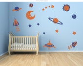 Space theme decal sticker.  Space, spaceships and stars wall decal. Planets cute stars moon wall stickers