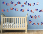 ABC Wall Decal. Removable vinyl wall decal. Kids room Alphabet decal with animals
