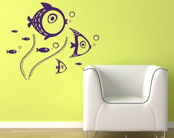 Fish wall decal - Fish and Seaweed decals for nursery, playroom