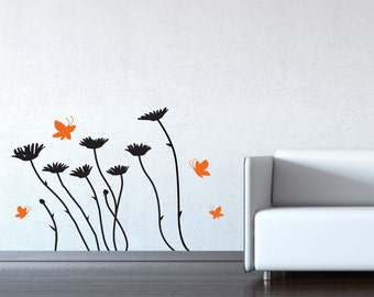 Daisies Wall Decals Floral Design Pattern - Flowers and butterflies removable vinyl stickers - Flower Decals
