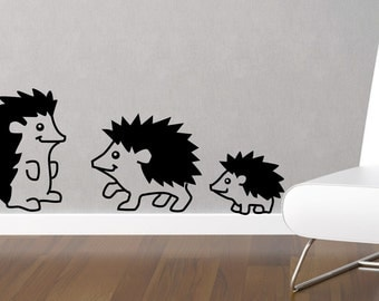 Decal Hedgehogs wall decal - nursery decor, baby boys girls room vinyl decal sticker - family of 3 hedgehogs. FREE Shipping in US and Canad