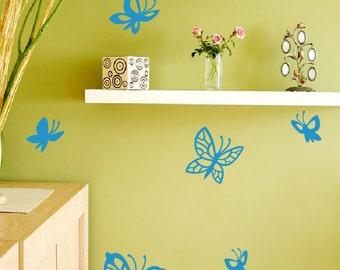 Butterflies wall Decals. FREE US Canada shipping 8 original butterflies flying wall Nursery decor