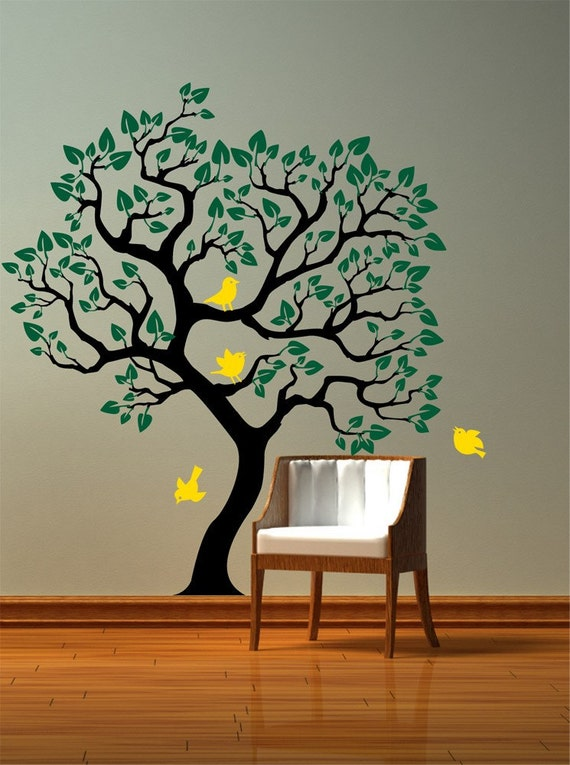Items similar to vinyl wall decal tree with birds for How to design a mural