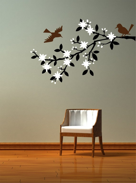 Blossoming Cherry Tree Branch Decal. Wall graphic, vinyl sticker