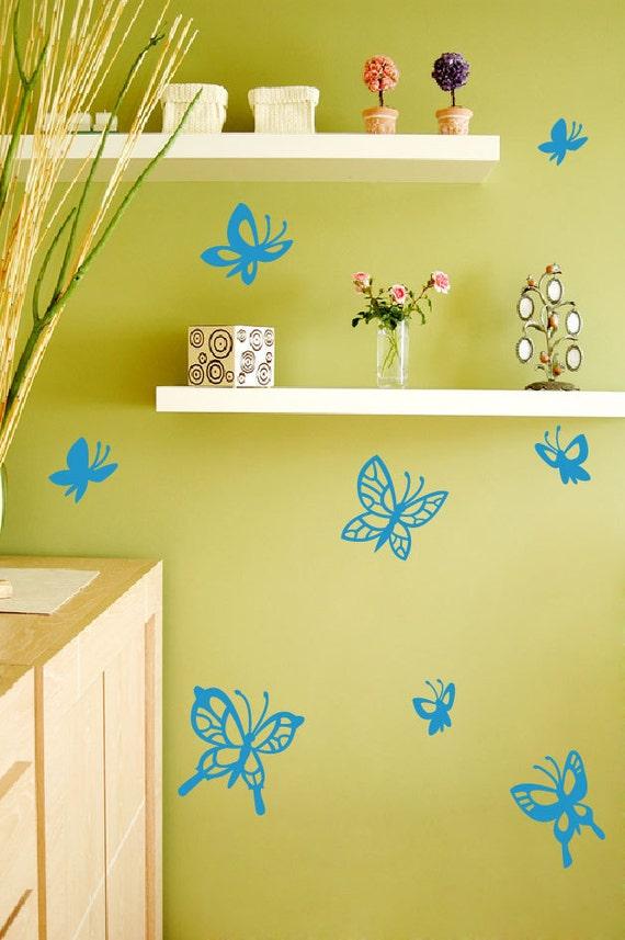 Butterflies wall Decals. FREE US Canada shipping 8 original butterflies flying wall Nursery decor