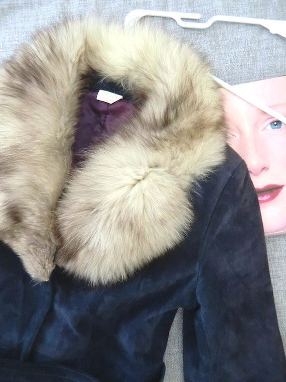 Vintage Suede Long Coat w/ Fur Collar in Rare French Blue, 1970s Mod Princess Cut, Overcoat - Small Med