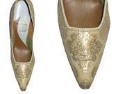 GORGEOUS Very Sexy Vintage 1950's Gold Brocade Stiletto Heeled Dress Pumps 7 1/2