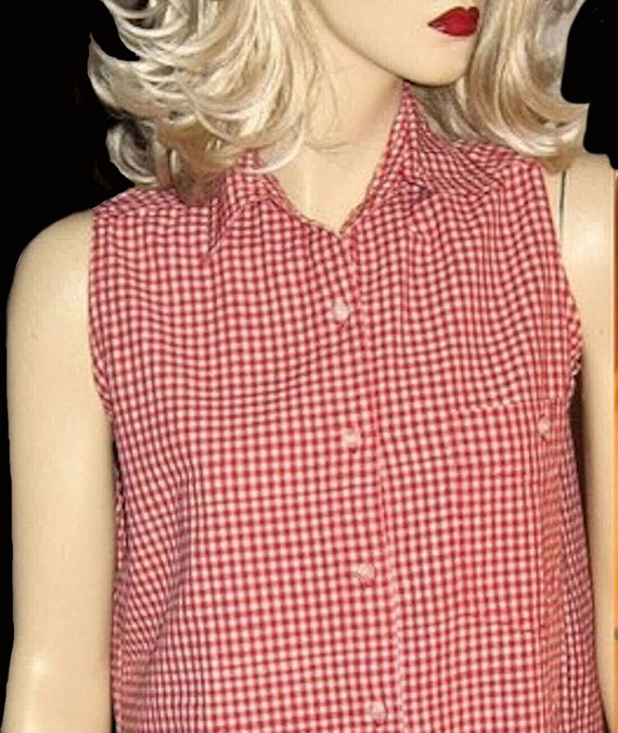 Adorable Brady Bunch Vintage 1970's Red Gingham Check Summer Sleeveless Blouse Large
