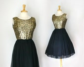 1950s gold brocade and black chiffon party dress size medium