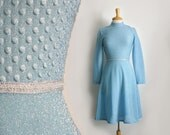 1960s shimmering powder blue high waist long sleeve midi dress, size  small