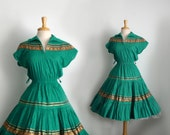 1950s teal green-blue and gold accent dress with full tiered circle skirt...size medium