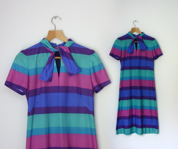 1960s multicolor front tie Circus Stripe shift day dress, size medium