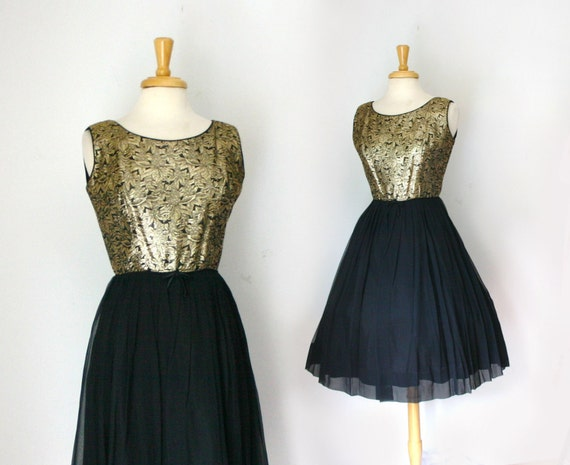 1950s gold brocade and black chiffon party dress size medium