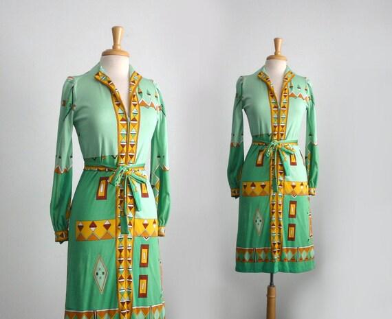 """1960s designer """"Paganne"""" gustav klimt inspired zip down  tunic dress size medium"""