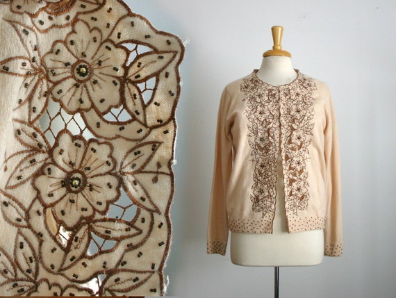 reserved for lydia messing...1950s ecru beaded floral lace cute out dolman sleeve cardigan sweater, size large or medium