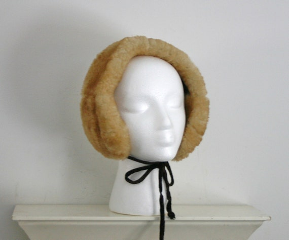 on hold until friday...1960s faux fur ear muffs headband combo with velvet ties