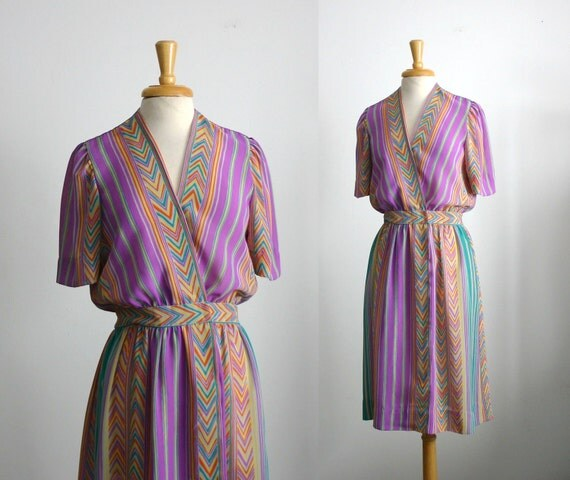 1970s semi sheer midi dress with wrap front with chevron and vertical stripes size medium or large