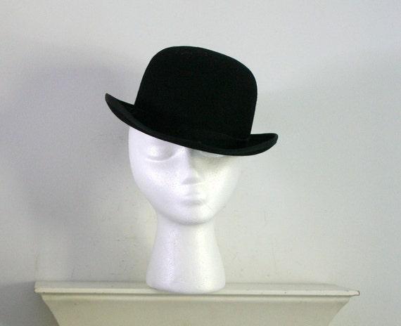 vintage black felt bowler derby hat