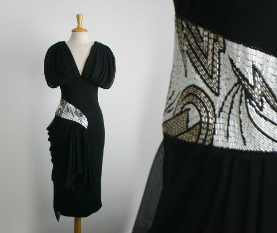1980s sequin embellished party dress with a 1940s inspired silhouette, size small