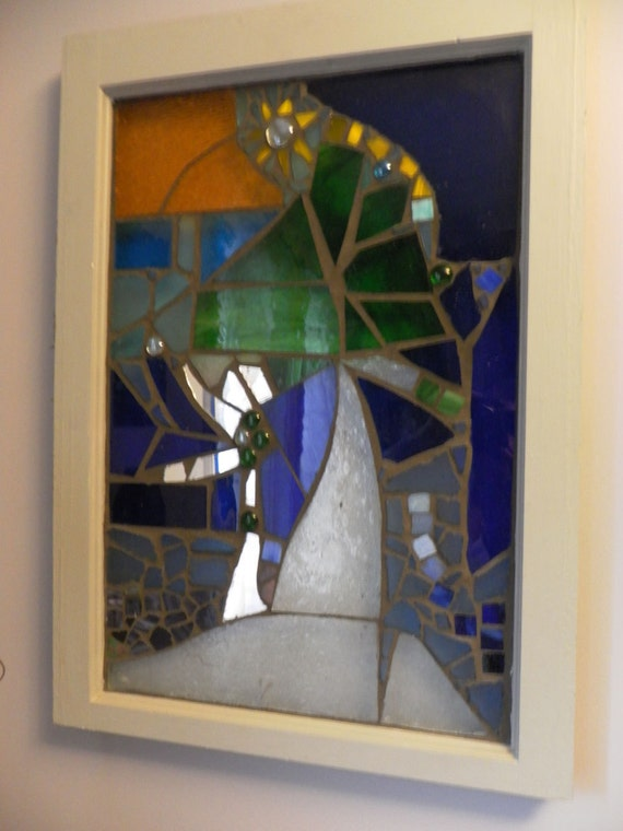 Items similar to custom made stained glass window tree for Recycled window frames