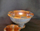 Blue & Red Pedestal Serving Bowl and matching Condiment Bowl