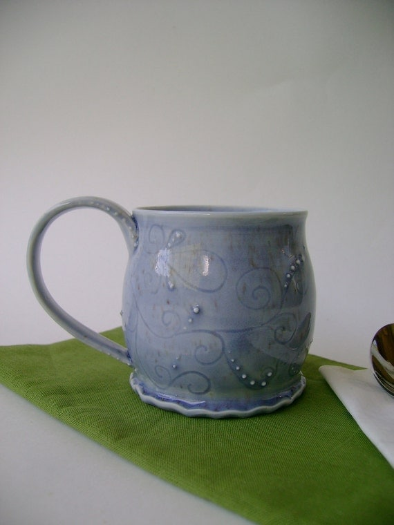 Whimsical Porcelain Teacup with Paisleyesque Carving and Slip Detail No. 2
