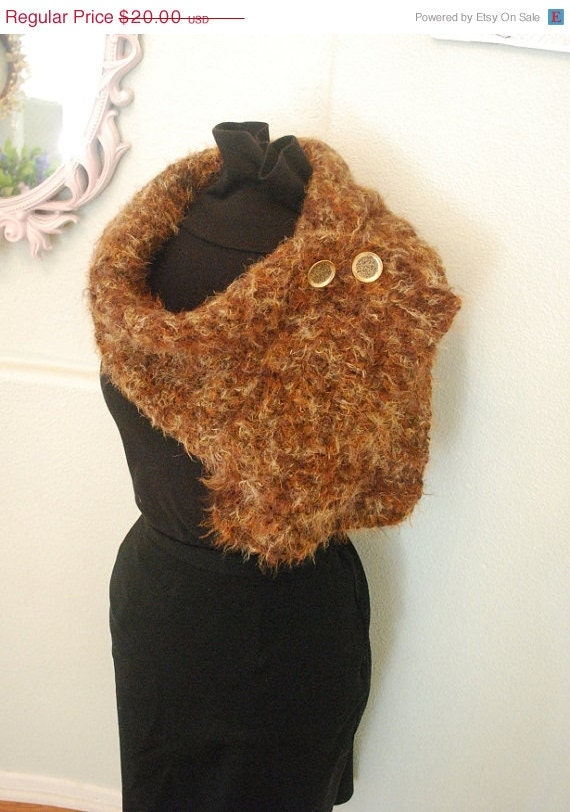 on sale soft brown scarf vintage buttons free shipping fall