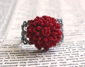 50 Percent Off Gunmetal and Red  Filigree Ring