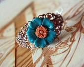 "Blue Flower Bracelet - Cyber Monday Sale Save 25% off ""cybermonday25"""