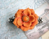 "Orange Fabric Flower Hair Clip - Cyber Monday Sale Save 25% off ""cybermonday25"""