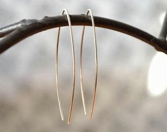 Wishbone Earrings, Simple Sterling Silver Earrings, Marquise Shape Earwire
