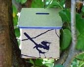 Money Box - Wrens in Inky Blue