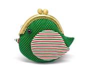 Cute festive green bird clutch purse