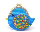 Cute ocean blue bird clutch purse