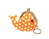 Pico sunset orange whale key chain coin pouch