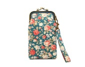 Turquoise roses iPhone kisslock clutch