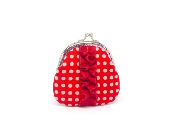 Mini purse with rose red polka dot cotton