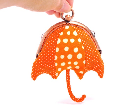 Orange beach umbrella mini coin purse