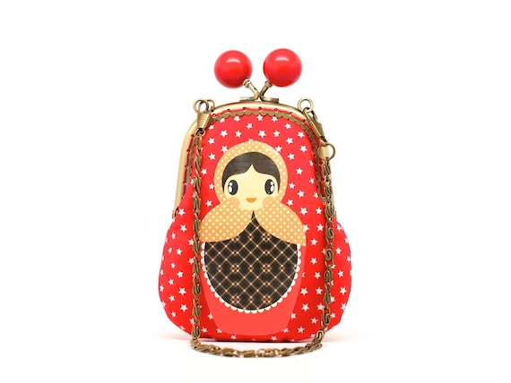 Red starry candy Russian doll clutch pouch