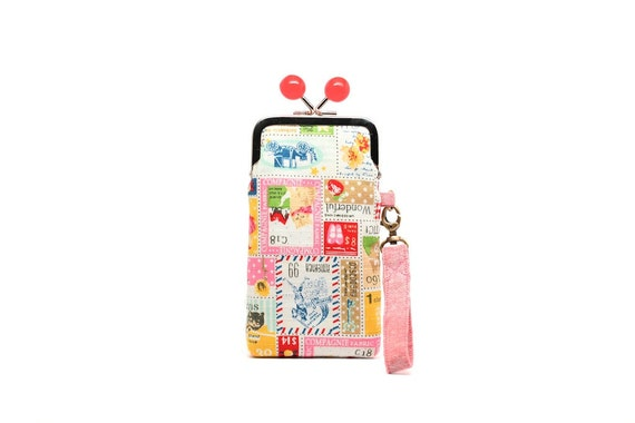 Lucky stamps iPhone kisslock clutch