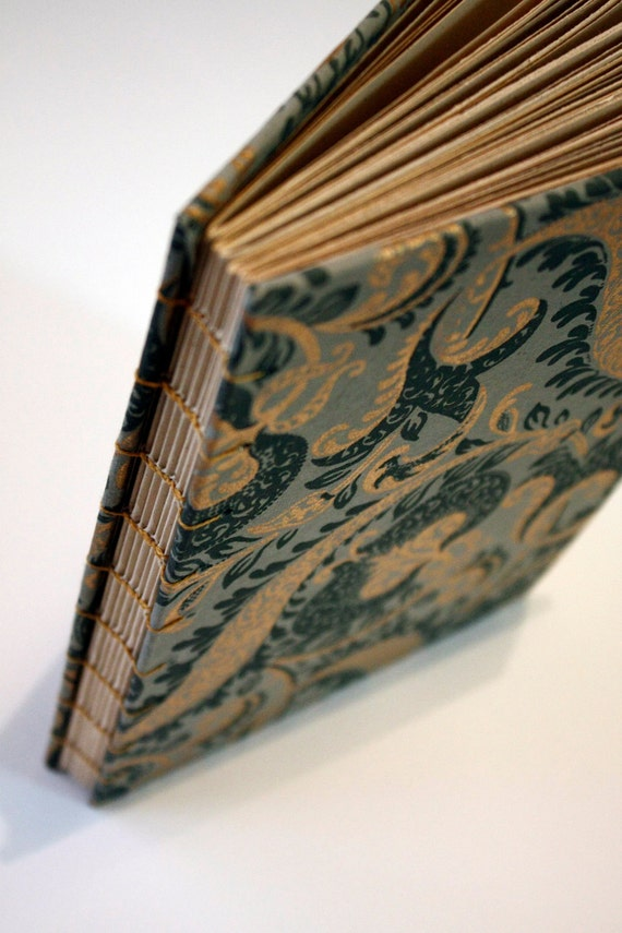 Hand-Bound Grey-Blue Journal with Gold Paisley